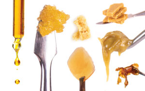 Cannabis concentrates depicting shatter, sauce and other THC and CBD products